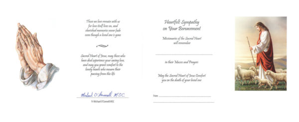 Signed Sympathy Mass Cards, Missionaries of the Sacred Heart