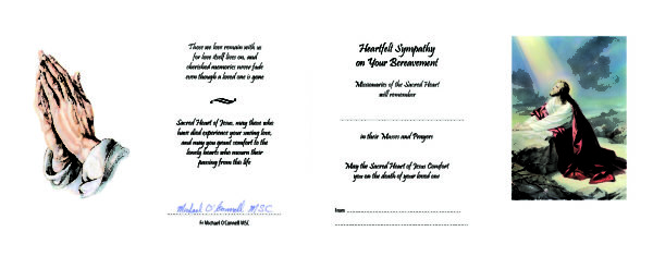 Beautiful Pre-Signed Sympathy Mass Card