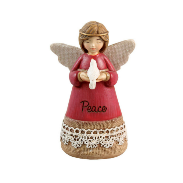 """Hand Painted Resin Angel – Peace – 4.25"""""""
