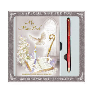 confirmation book and pen