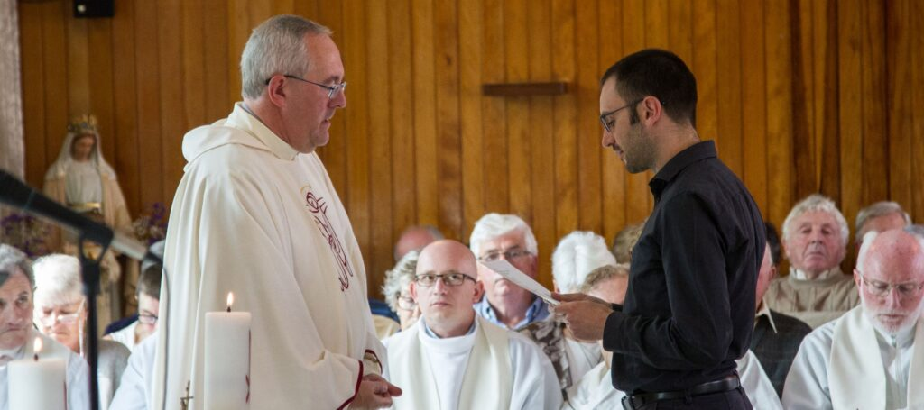 Bro Giacomo Gelardi MSC taking his First Profession vows with Fr Joe McGee MSC, at a ceremony in Myross Wood, Co. Cork, in August 2017. (Photo credit: Alan Dodd.)