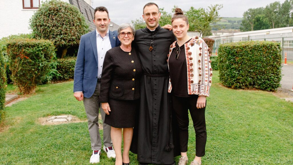 Br Giacomo with his mother Francesca, his brother Luca, and his sister Maria, who travelled from Italy to celebrate with him on the occasion of his Perpetual Profession.