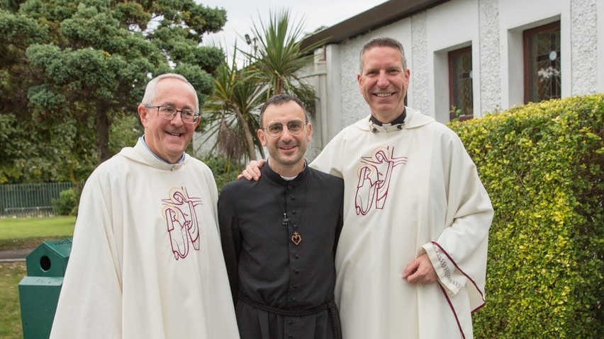 Br Giacomo Gelardi MSC with Fr Joe McGee MSC and Irish Provincial Leader Fr Carl Tranter MSC, celebrating Br Giacomo's final vows as he officially joins the Society of the Missionaries of the Sacred Heart.