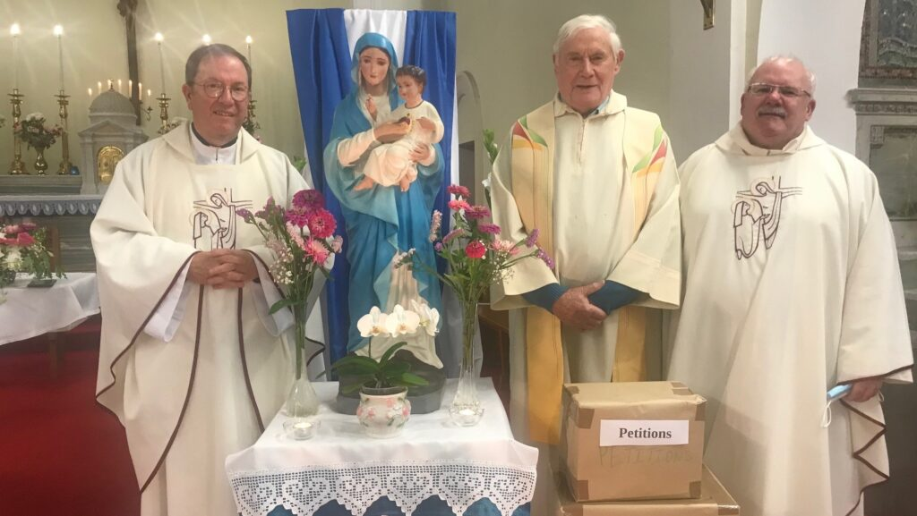 Fr Paul Clayton-Lea with Fr Jerry Daly MSC and Fr Michael O'Connell MSC at our 2021 Novena to Our Lady of the Sacred Heart, at the Sacred Heart Church on the Western Road, Cork.