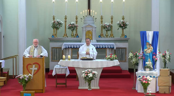Fr Tom Mulcahy MSC joins Fr Paul Clayton-Lea in celebration of the 2021 MSC Novena to Our Lady of the Sacred Heart at the Sacred Heart Church on the Western Road, Cork.
